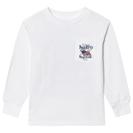 Ralph Lauren White Polo and Co US Flag Long Sleeve Tee 001