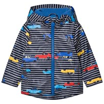 Joules Navy Stripe Car Print Hooded Raincoat NAVY STRIPE CARS