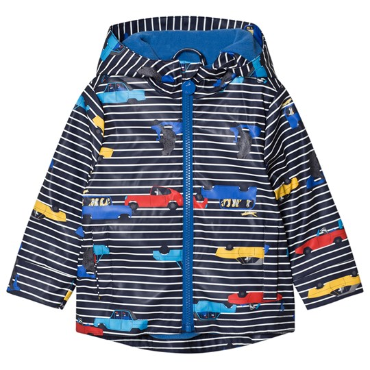 Tom Joule Navy Stripe Car Print Hooded Raincoat NAVY STRIPE CARS