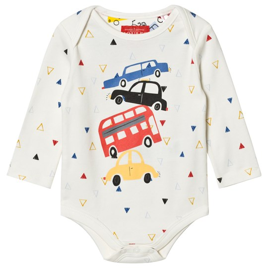 Tom Joule Cream Car Print Baby Body TRAFFIC TRIANGLE