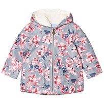 Joules Grey Floral Padded Waterproof Raincoat with Fleece Lining SOFT GREY FLORAL