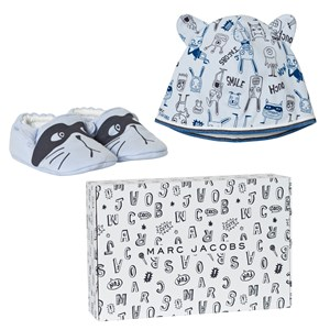 Image of Little Marc Jacobs Blue Animal Print Jersey Hat and Booties Set in Gift Box 1 month (2743691619)