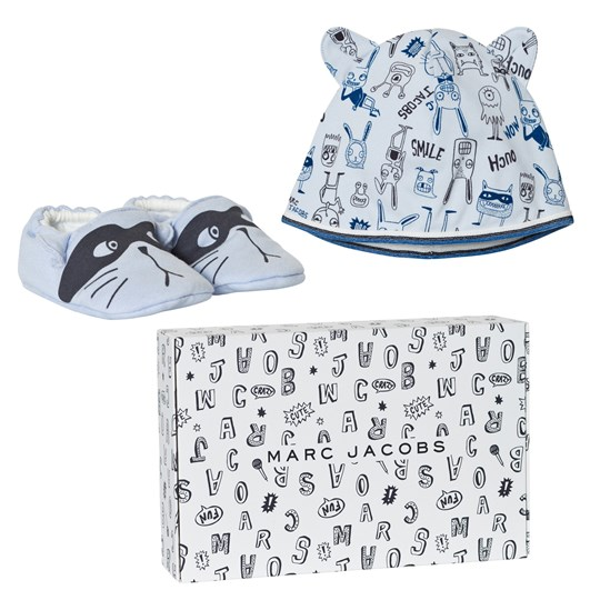 Little Marc Jacobs Blue Animal Print Jersey Hat and Booties Set in Gift Box 771