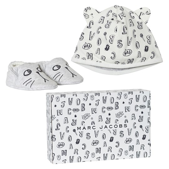 Little Marc Jacobs Grey Animal Print Jersey Hat and Booties Set in Gift Box A10
