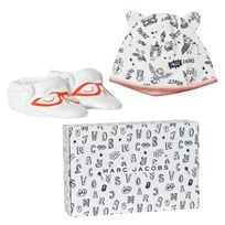 Little Marc Jacobs Off White Animal Print Jersey Hat and Booties Set in Gift Box 117