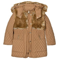 Chloé Tan Long Line Quilted Coat with Faux Fur Hood