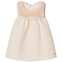 Chloé Lurex Jacquard Faux Fur Dress Pink/White 471