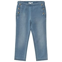 Chloé Chambray Jeggings with Gold Details