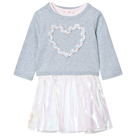 Billieblush Glitter Jersey and Organza Dress Grey Z40