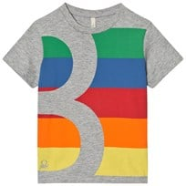United Colors of Benetton Multi Color Stripe Logo T-Shirt Grey Black
