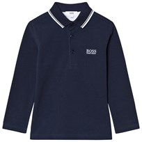BOSS Navy Long Sleeve Branded Polo 849