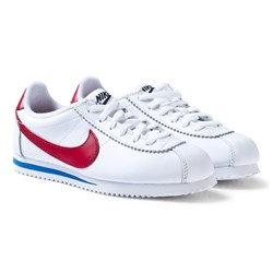NIKE Junior Cortez Basic Läder Skor Vit/Varsity Red