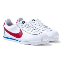 NIKE Junior Cortez Basic Leather Shoe White/Varsity Red 100