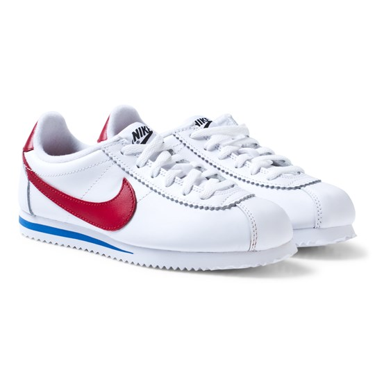 NIKE Junior Cortez Basic Läder Skor Vit/Varsity Red 100