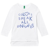 United Colors of Benetton Long Sleeve Tee With Print Text White White