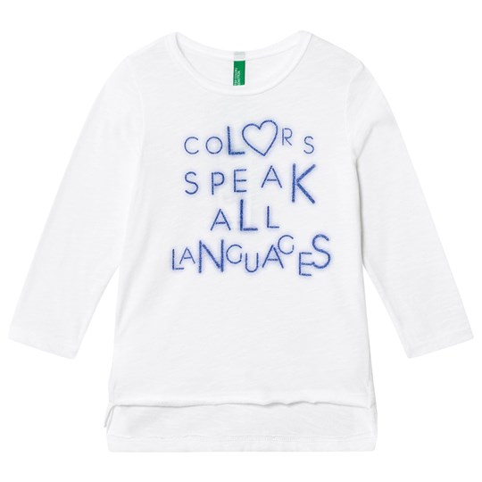 United Colors of Benetton Long Line L/s T-shirt With Colors Speak All Languages Text White White
