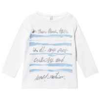 United Colors of Benetton Long Sleeve Printed Tee Glitter White White