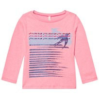 United Colors of Benetton Long Sleeve Printed Tee Candy Pink Candy Pink