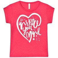 United Colors of Benetton Glitter Heart Print Tee Fuschia Pink Fuschia Pink
