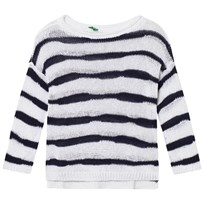 United Colors of Benetton Stripe Knit Sweater Navy/White Navy White