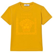 Young Versace Yellow Rubberised Medusa Print Tee 3333
