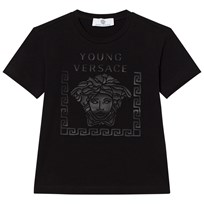 Young Versace Black Rubberised Medusa Print Tee 3336