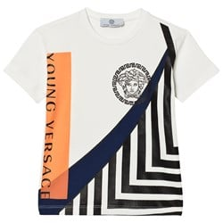 Versace White Medusa and Branded Graphic Tee