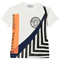 Young Versace White Medusa and Branded Graphic Tee 3408