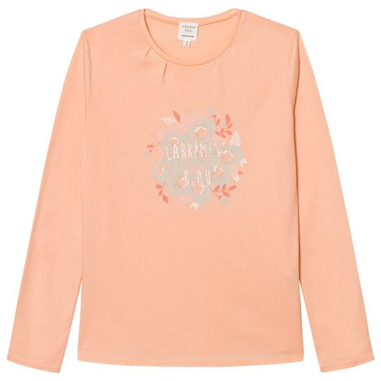 Carrément Beau Pink Floral Branded Long Sleeve Tee 44D