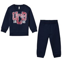 United Colors of Benetton Logo Sweater And Pant Set Navy Laivastonsininen
