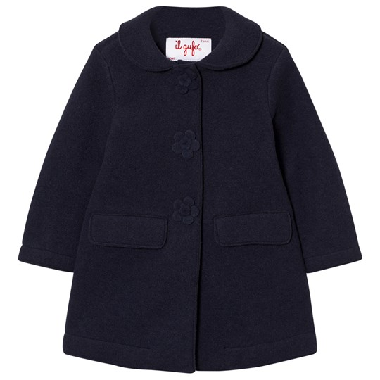 Il Gufo Navy Wool Coat with Flower Buttons 497