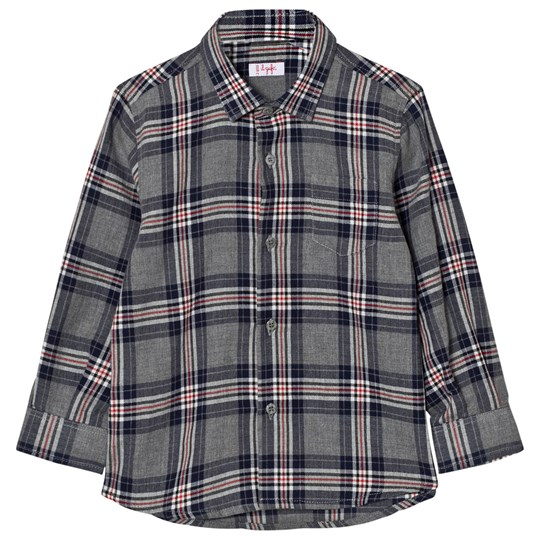 Il Gufo Grey and Navy Multi Check Shirt 490