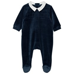 Carrément Beau Footed Baby Body Velour Navy