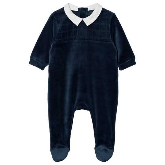 Carrément Beau Footed Baby Body Velour Navy 85T