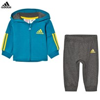adidas Hoodie Sweatpants Set Teal/Grey Top:MYSTERY PETROL F17/DARK GREY HEATHER/EQT YELLO