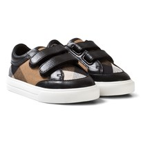 Burberry Heacham Mini Check Velcro Trainers Black