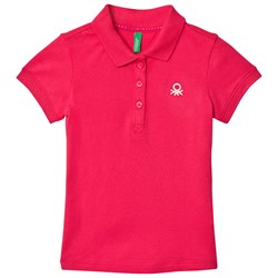 United Colors of Benetton Classic Polo T-shirt With Sparkle Logo S/s Fuschia Pink
