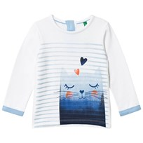 United Colors of Benetton Stripe Cat Print Jersey Sweater White White