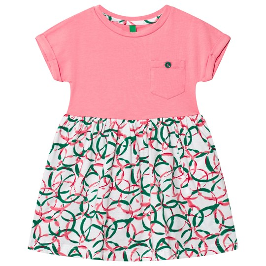 United Colors of Benetton Jersey T-shirt Dress With Printed Skirt Candy Pink Candy Pink