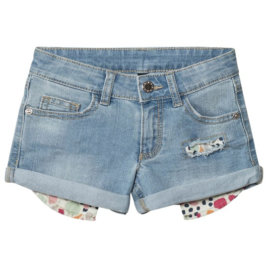 United Colors of Benetton Mini Washed Turn Up Denim Shorts With Abrasion Light Blue Light Blue