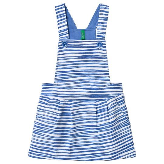 United Colors of Benetton Stripe Jersey Overall Dress Blue/White Blue White