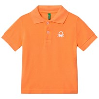 United Colors of Benetton Logo Polo Tee Orange Pink