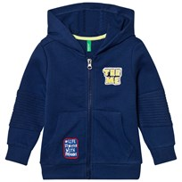 United Colors of Benetton Jersey Zip Hoodie With Patches Blue Blue