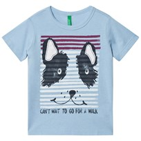 United Colors of Benetton Dog Print Tee Blue Blue