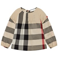 Burberry Pintuck Detail Check Top Beige New Classic Check
