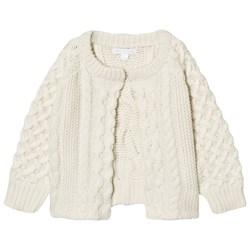 Burberry Cable Knit Wool Cashmere Henriet Cardigan Cream