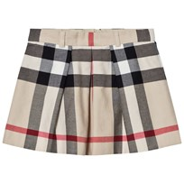 Burberry Pleated Check Kittie Skirt Beige Stone