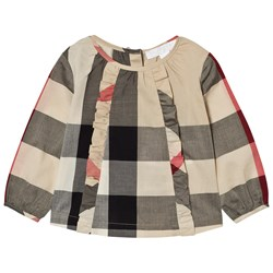 Burberry Ruffle Detail Check Cotton Top Beige