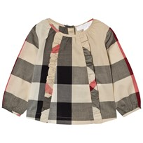 Burberry Ruffle Detail Check Cotton Top Beige New Classic Check