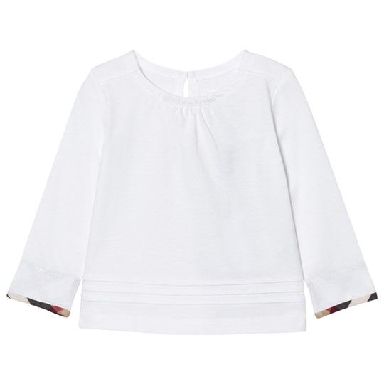 Burberry Long Sleeve Check Pleat Detail Tee White White